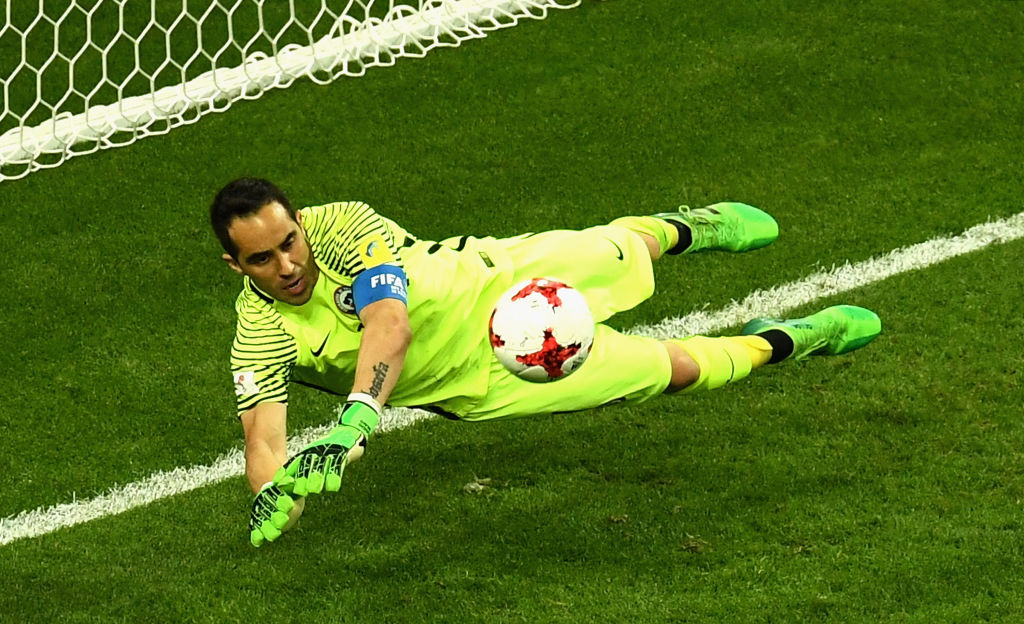 Claudio Bravo saves in penalty shoot out for Chile v Portugal