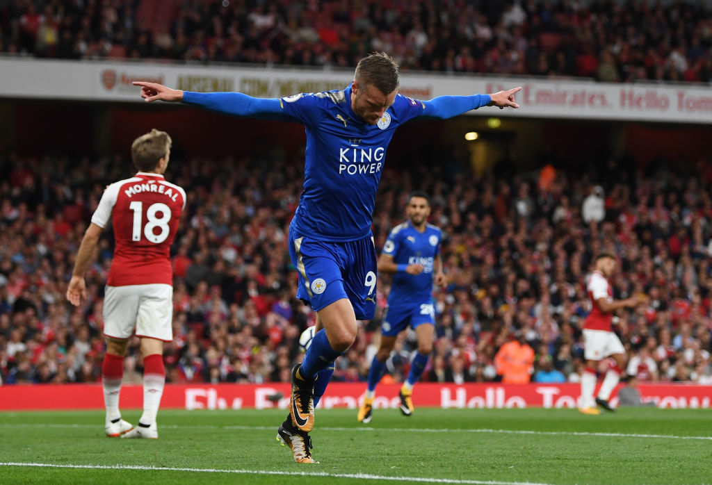 Image result for leicester city arsenal vardy