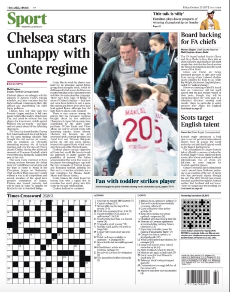 The Times back page October 20, 2017