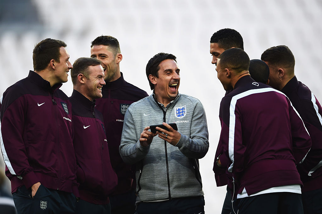 Gary Neville laughing in England training