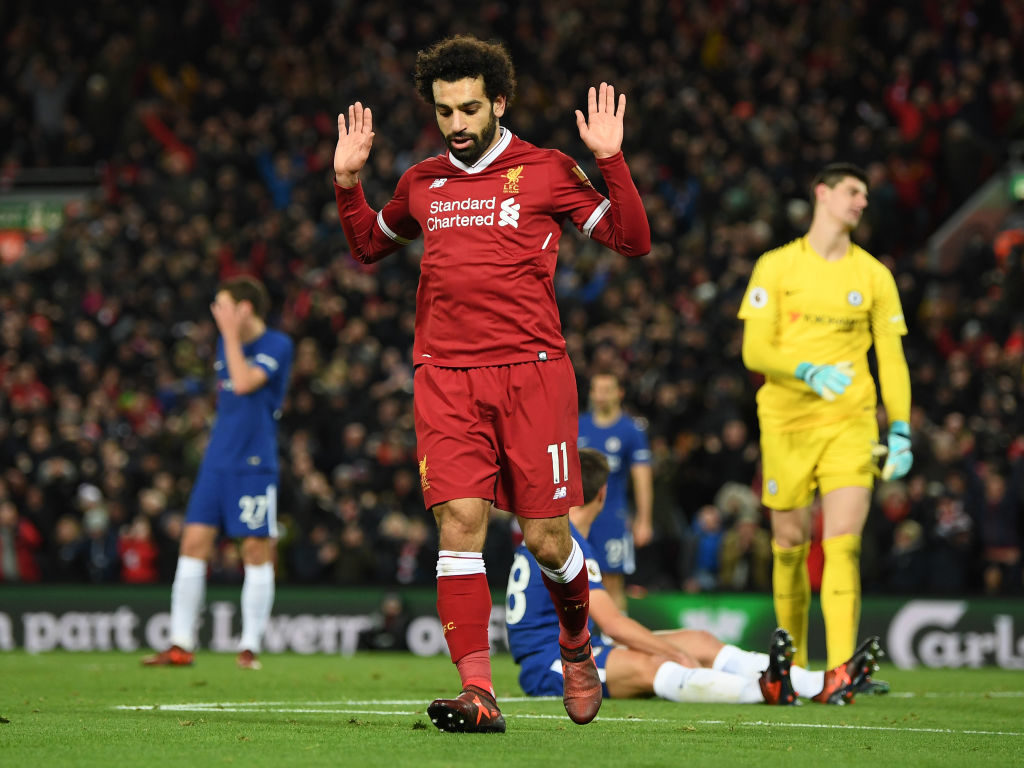 Mohamed Salah non celebration after Liverpool goal v Chelsea