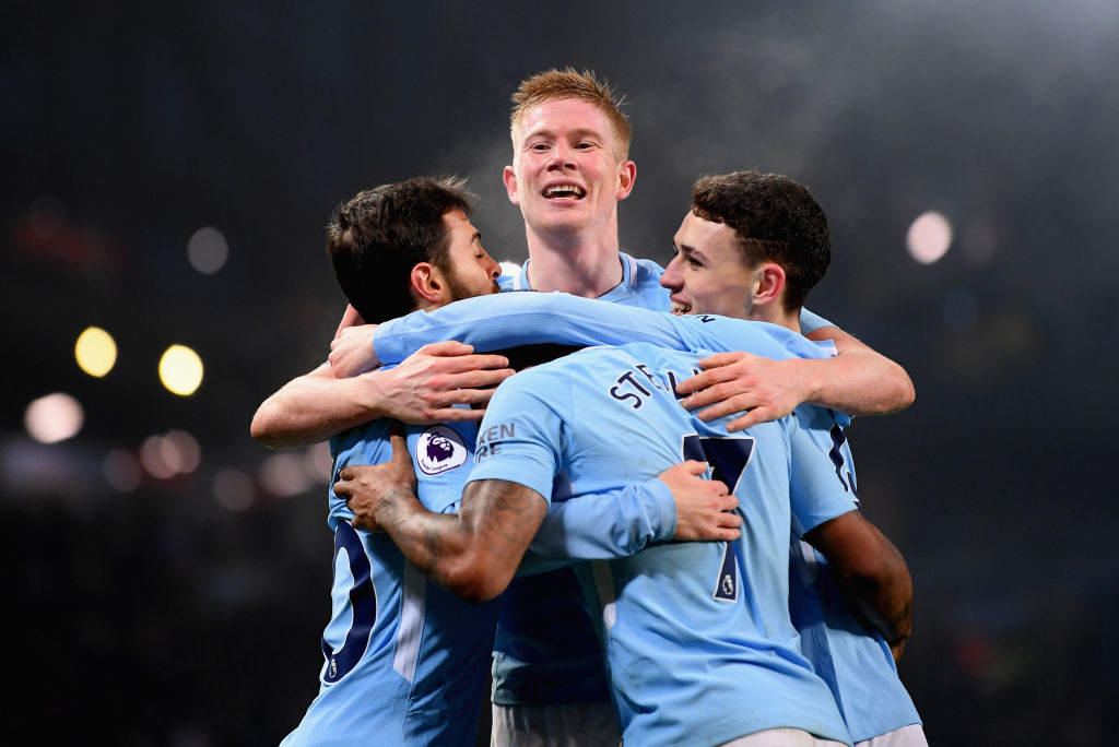 Manchester City celebrate vs Spurs