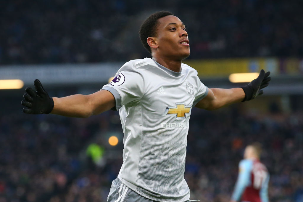 Anthony Martial celebrates Man United winner at Burnley