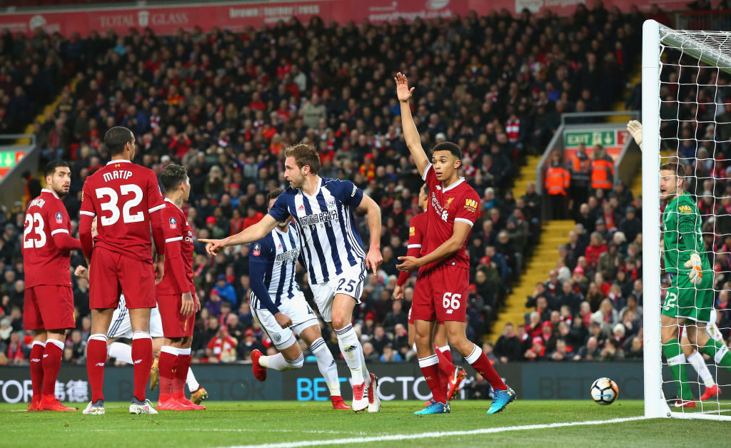 Craig Dawson thinks he has scored for West Brom vs Liverpool