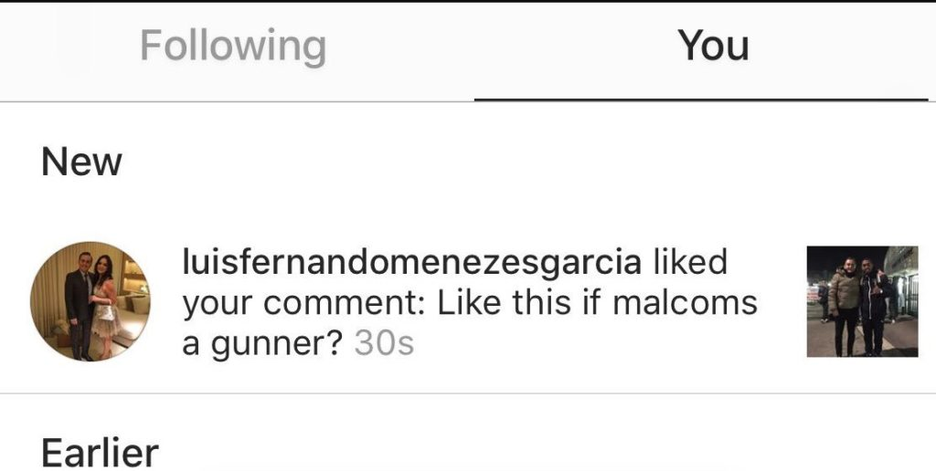 Luis Fenando Menezes Garcia confirms Malcom move on Instagram