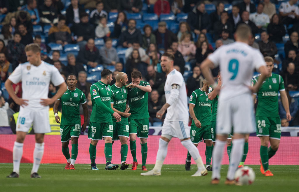 Leganes celebrate at the Bernabeu