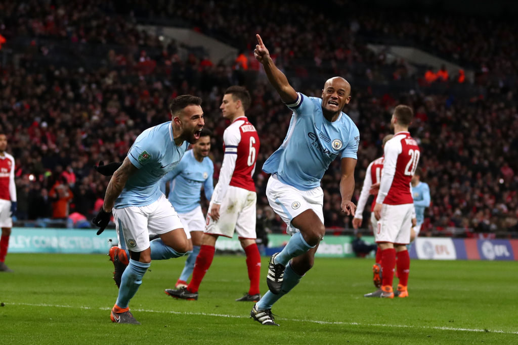 Vincent Kompany celebrates goal vs Arsenal