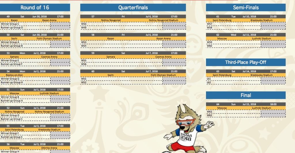 World Cup 2018 Excel spreadsheet for predictions & sweepstakes