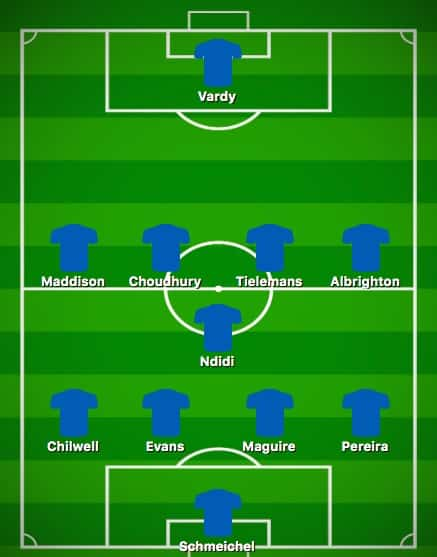 Predicted Leicester XI vs Chelsea