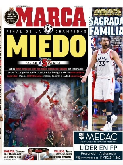 Marca front page on Monday warns of hooligan fears in fan zones