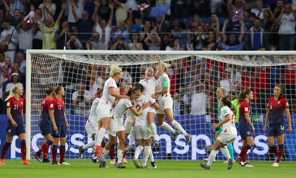 England celebrate at the Women's World Cup