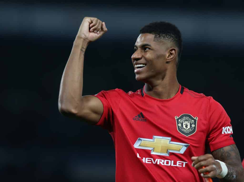 Marcus Rashford celebrates vs Chelsea