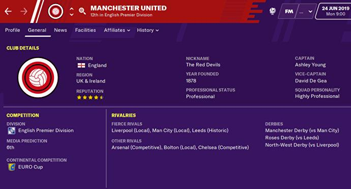 How Manchester United appear on Football Manager
