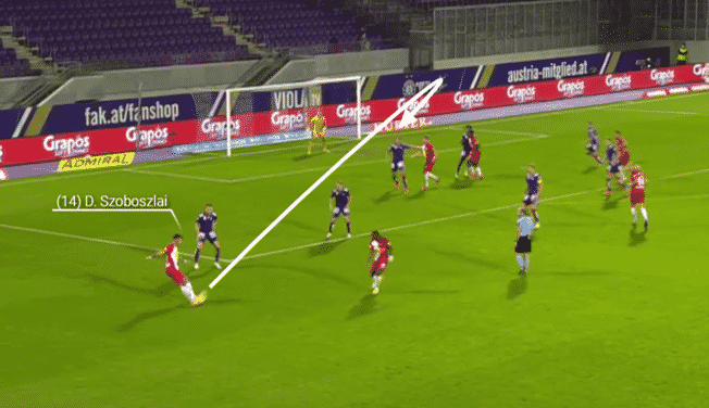 Dominik Szoboszlai delivers an inswinging cross on his right-foot resulting in a goal for Red Bull Salzburg.