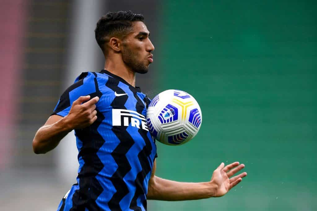 STADIO GIUSEPPE MEAZZA, MILAN, ITALY - 2020/09/19: Achraf Hakimi of FC Internazionale in action during the pre-season friendly match between FC Internazionale and Pisa SC.  FC Internazionale won 7-0 against Pisa SC.  (Photo by Nicolò Campo / LightRocket via Getty Images)