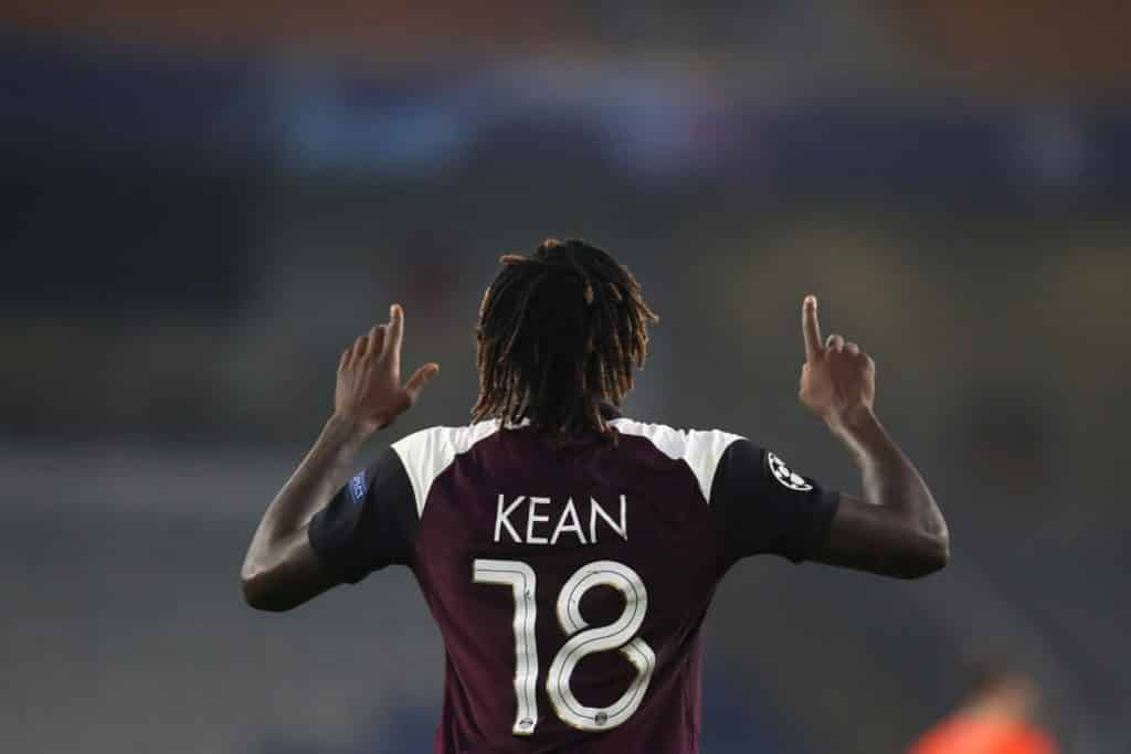 ISTANBUL, TURKEY - OCTOBER 28: Moise Kean of Paris Saint-Germain celebrates after scoring his sides second goal during the UEFA Champions League Group H stage match between Istanbul Basaksehir and Paris Saint-Germain at Basaksehir Fatih Terim Stadyumu on October 28, 2020 in Istanbul, Turkey. Sporting stadiums around Turkey remain under strict restrictions due to the Coronavirus Pandemic as Government social distancing laws prohibit fans inside venues resulting in games being played behind closed doors. (Photo by Tolga Bozoglu - Pool/Getty Images)