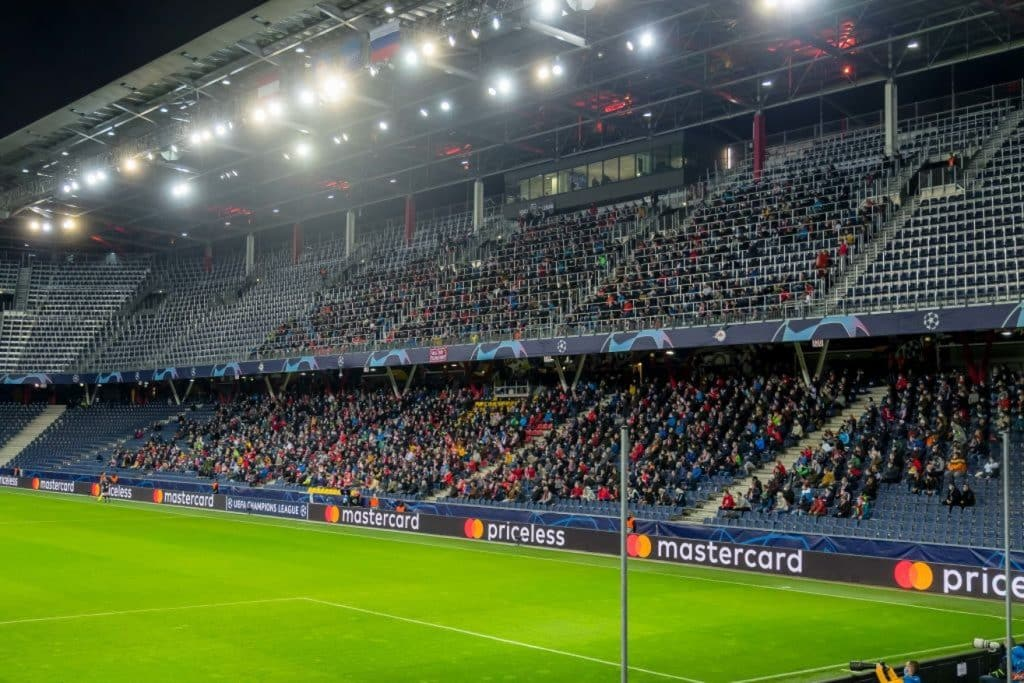 SALZBURG, AUSTRIA - OCTOBER 21: (BILD ZEITUNG OUT) general view inside the stadium with 3000 supporters prior to the UEFA Champions League Group A stage match between RB Salzburg and Lokomotiv Moskva at Red Bull Arena on October 21, 2020 in Salzburg, Austria. (Photo by Roland Krivec/DeFodi Images via Getty Images)