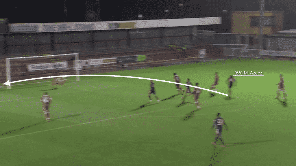 Picking up the ball on the edge of the box, Azeez unleashes a curling effort away from the keeper and into the bottom corner.