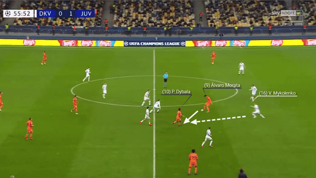 Playing on the left of a back three, Mykolenko anticipates the pass from Morata and accelerates to close down the pass.