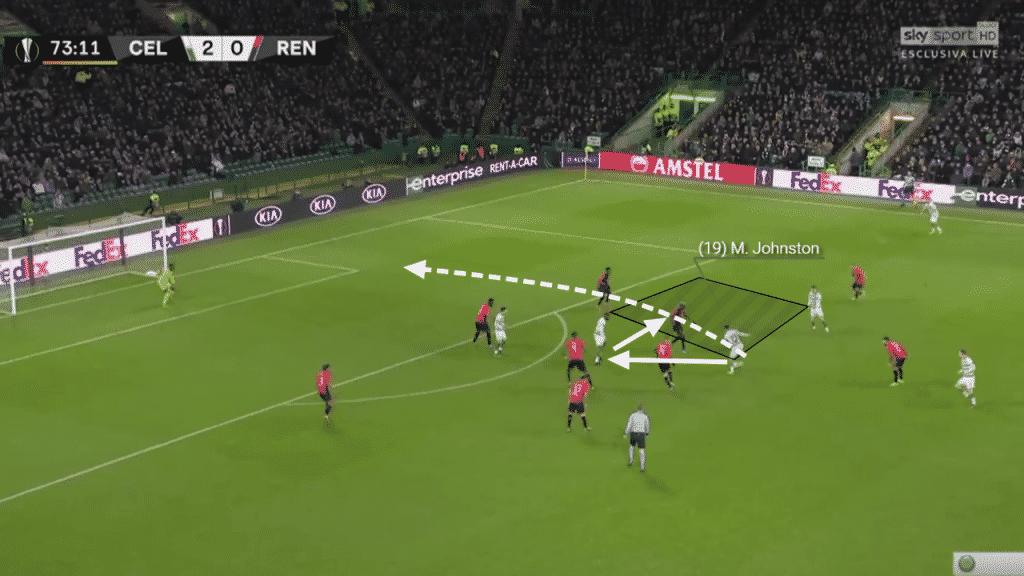 Playing a one-two, Johnson is able to drive to the right of the Rennes goal and get into a clear position after some excellent interplay.