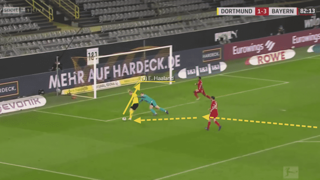 The speed at which he beats the defenders and the deft touch to bring the ball under control whilst barely breaking slide means Haaland can round Neuer and finish calmly.