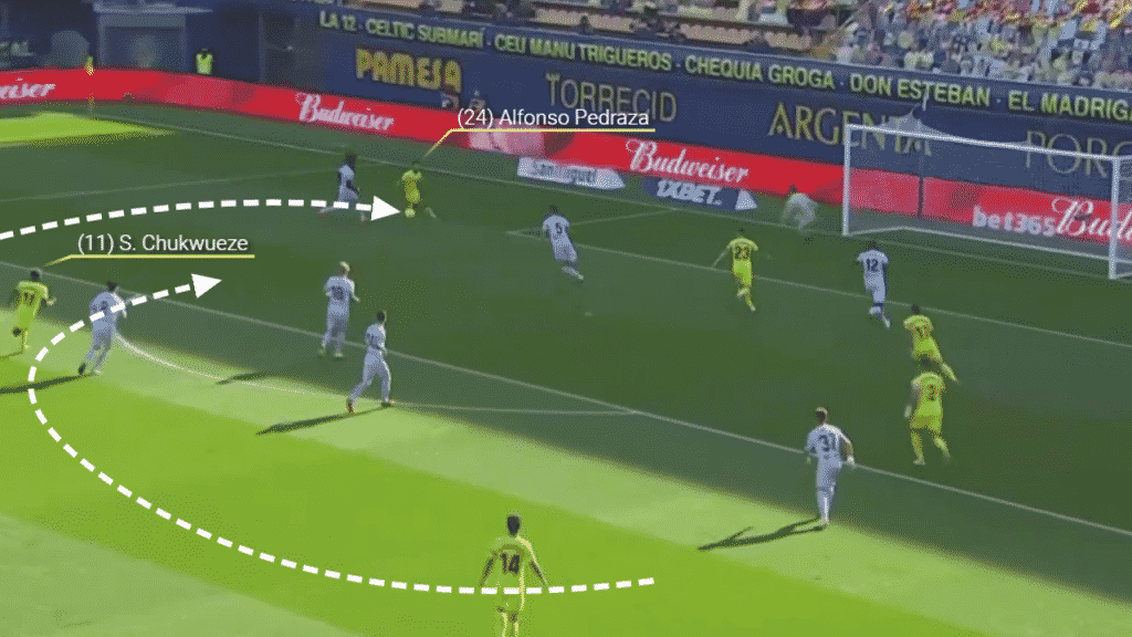 In this instance, Chukwueze finds Alfonso Pedraza and the wide man is fouled earning Villarreal a penalty.