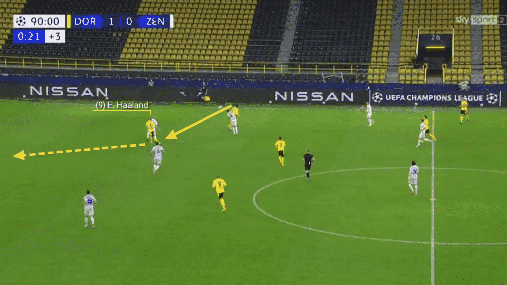 In this opportunity, a long ball from the keeper is won in the air by teammate and drops through to Haaland. Again playing on the shoulder of the last man he spins and accelerates towards goal.