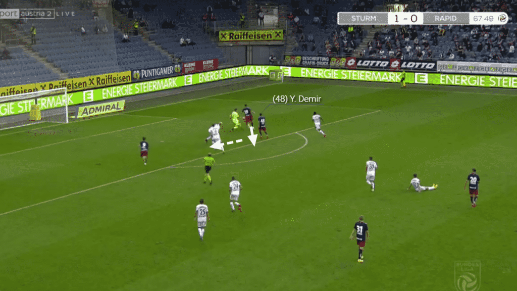 Whilst fortunate, a chance opens for Demir where his forward teammate has dragged out the keeper and back-heeled the ball to Demir. With a number of defenders looking to block the initial shot looks too risky.
