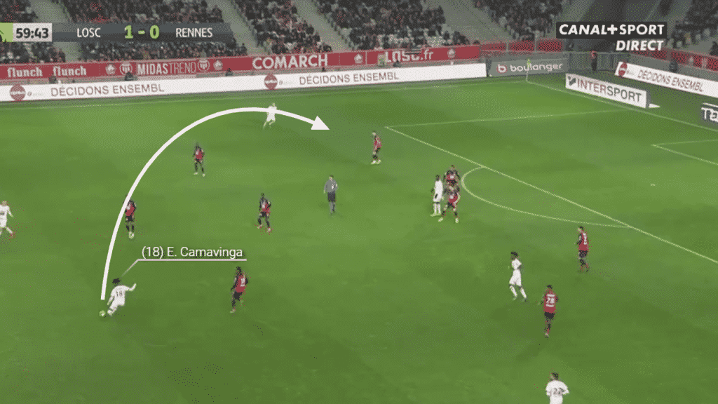 Camavinga finds a curling, lofted pass out to the left wing to set up a crossing opportunity.