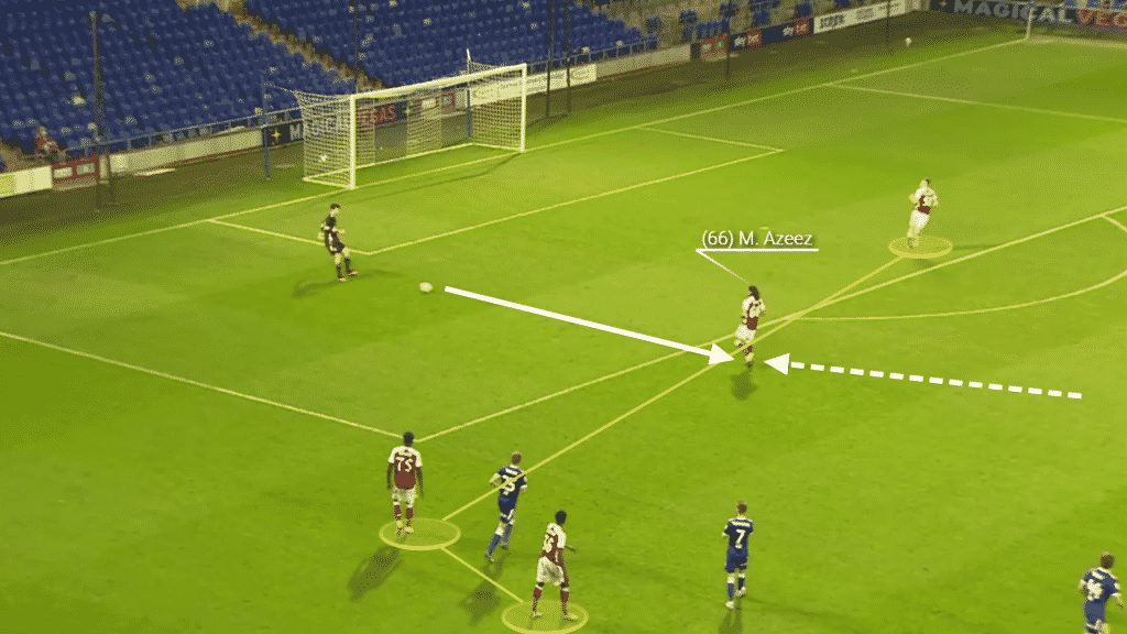 Azeez drops in, collects the ball from the goalkeeper, turns and progresses the ball forwards.