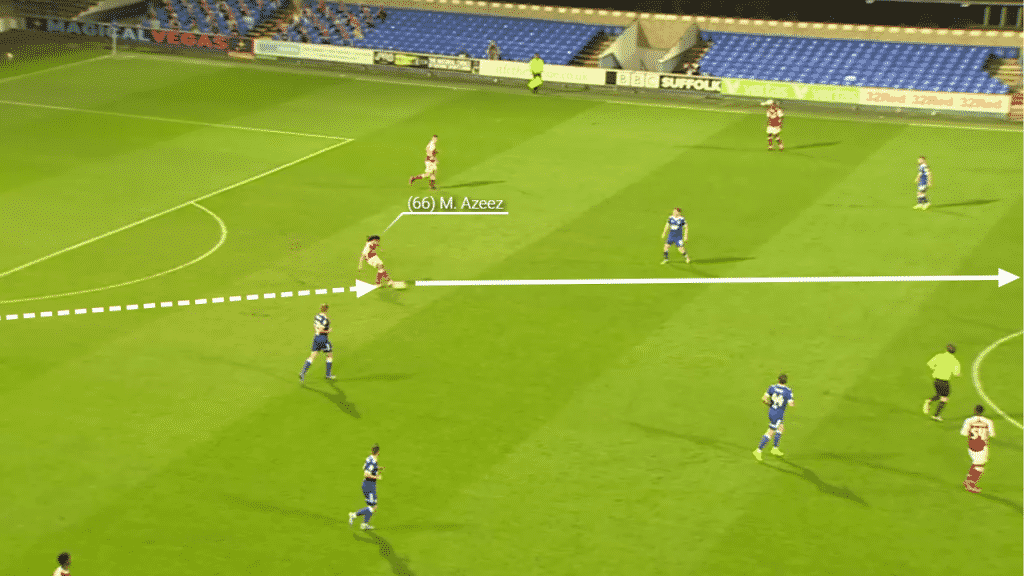 A central pass finds Cottrell who can turn and spin on the ball.