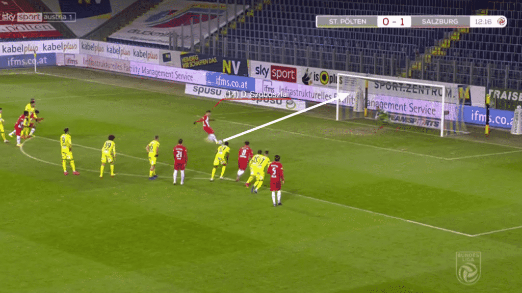 Ljubicic was again at fault for the second penalty. Bundling over young German forward Karim Adeyemi. Szoboszlai stepped up again and smashed the ball into the same position as the first. (4-0)