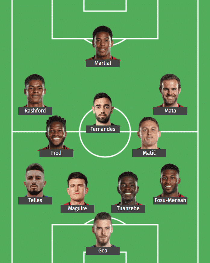 Manchester United's predicted XI to face Southampton.