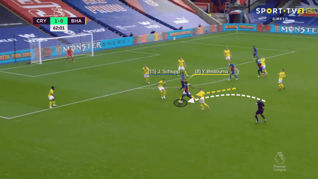 Forcing Schlupp into a wider position, Bissouma then times his tackle well to win the ball and possession back for Brighton.