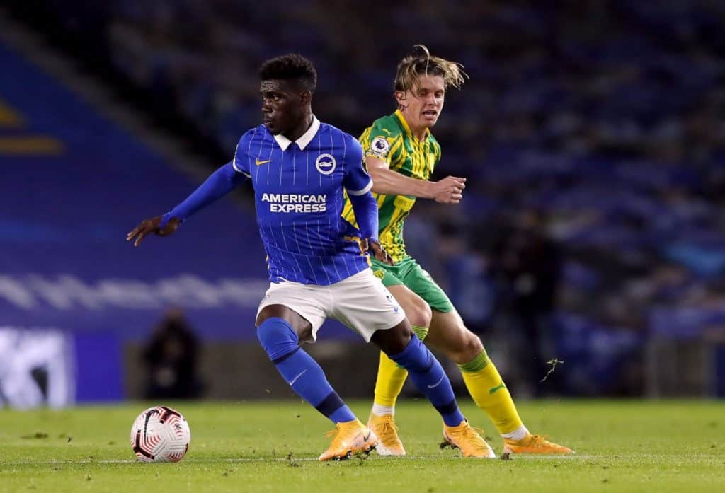 Brighton and Hove Albion's Yves Bissouma (left) and West Bromwich Albion's Conor Gallagher during the Premier League match at the AMEX Stadium, Brighton. (Photo by Andrew Couldridge/PA Images via Getty Images)