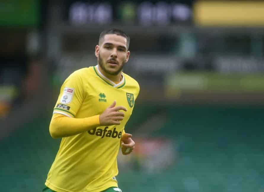 NORWICH, ENGLAND - OCTOBER 03: Norwich City's Emi Buendia during the Sky Bet Championship match between Norwich City and Derby County at Carrow Road on October 3, 2020 in Norwich, England. (Photo by Hannah Fountain - CameraSport via Getty Images)