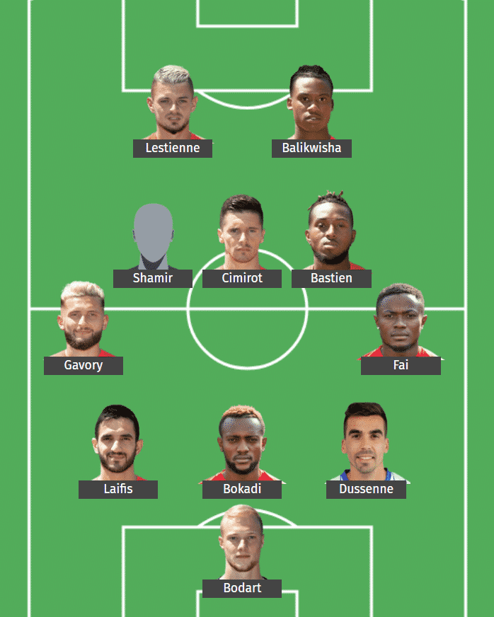 Standard Liège's predicted XI to face Glasgow Rangers.