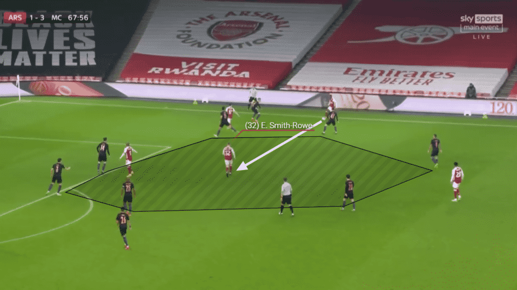 Emile Smith Rowe finds space and provides an option to be passed to inside.