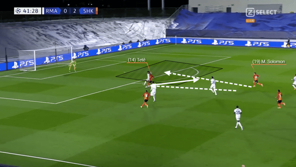 His goal against Real Madrid came in instinctive fashion. As Tete brings the ball forwards and to the left of the goal, Solomon moves forward and into the space available for the back heel.