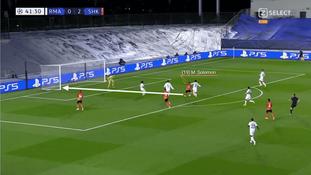 Having received the ball, he takes a touch to the right before striking a low powerful shot past Thibaut Courtois.