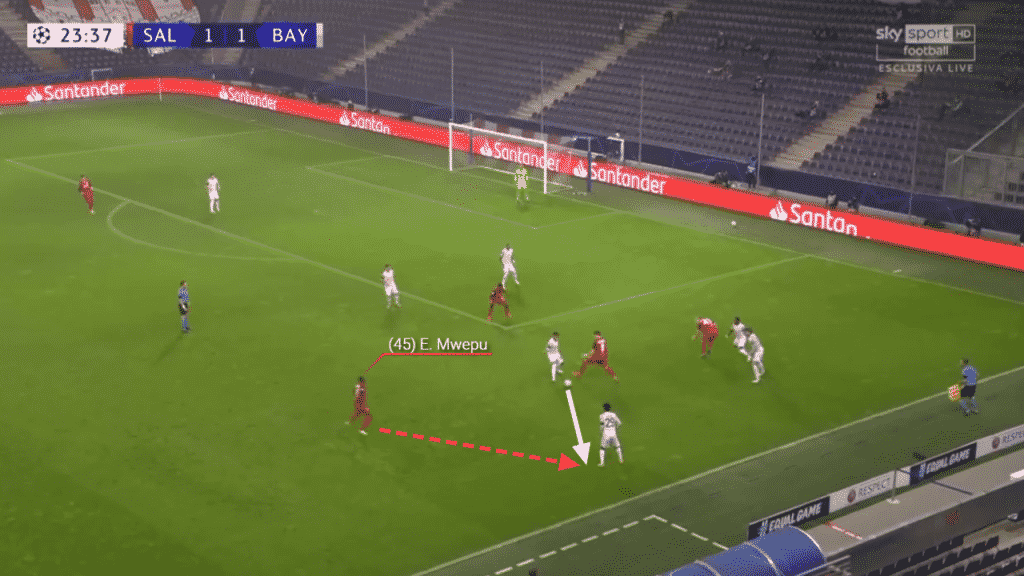 In this example, the pass is played out wide and Mwepu again reacts quickly to close the gap between himself and the opposition player.