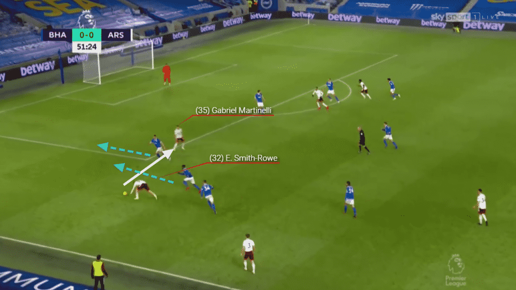 Spotting the movement of defenders towards the goal, the England youth international cuts the ball back to Martinelli who is able to spin and take a shot at goal.