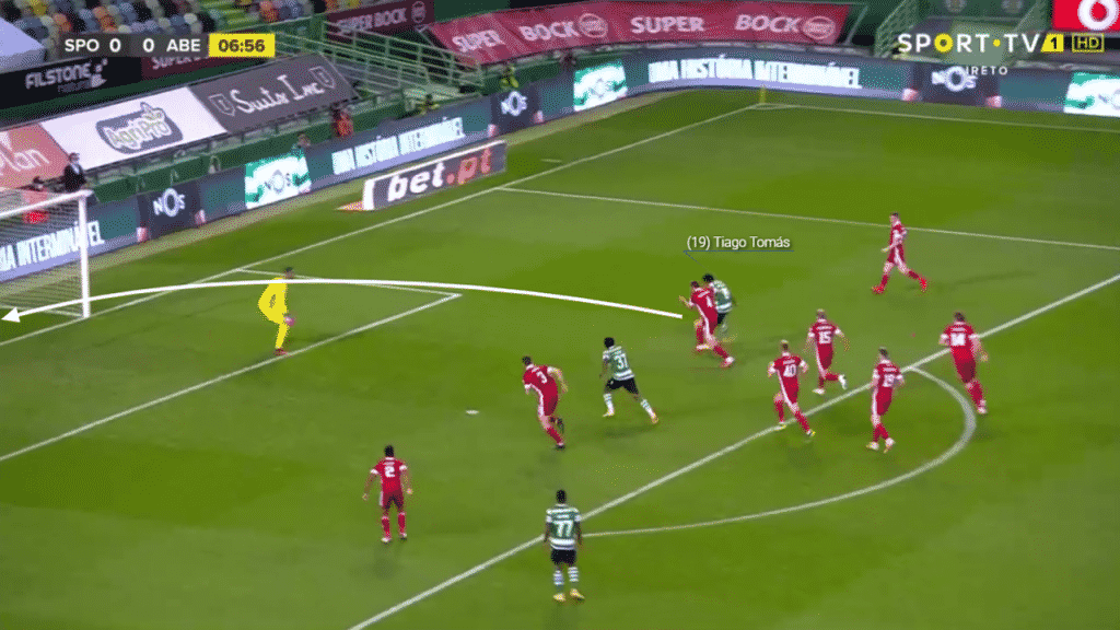 However, Tomas' range of finishing is highlighted where he uses the pace of the ball to lift it over the goalkeeper.