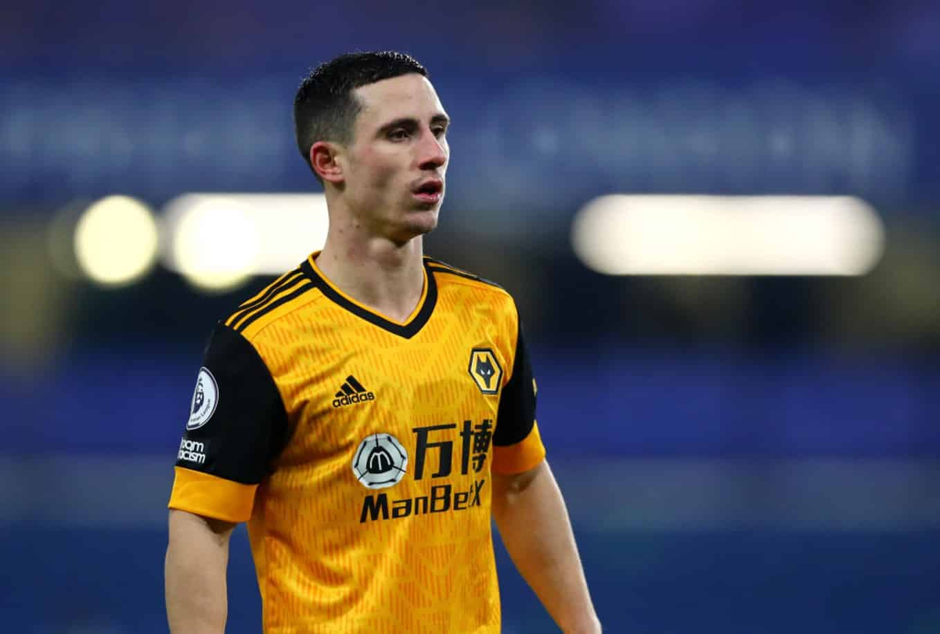 LONDON, ENGLAND - JANUARY 27: Daniel Podence of Wolverhampton Wanderers during the Premier League match between Chelsea and Wolverhampton Wanderers at Stamford Bridge on January 27, 2021 in London, England. Sporting stadiums around the UK remain under strict restrictions due to the Coronavirus Pandemic as Government social distancing laws prohibit fans inside venues resulting in games being played behind closed doors. (Photo by Chloe Knott - Danehouse/Getty Images)
