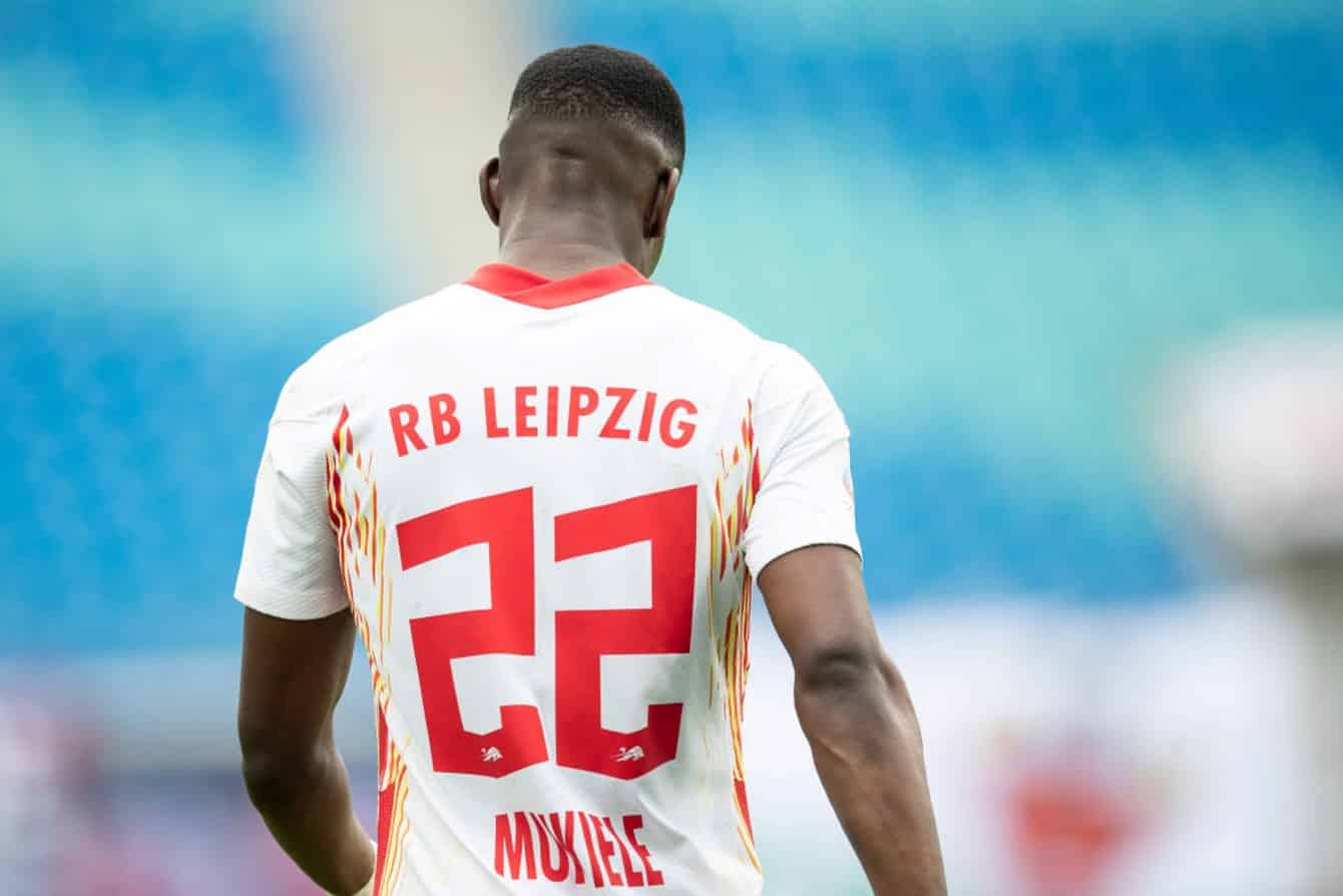 LEIPZIG, GERMANY - JUNE 20: Nordi Mukiele of RB Leipzig looks on during the Bundesliga match between RB Leipzig and Borussia Dortmund at Red Bull Arena on June 20, 2020 in Leipzig, Germany. (Photo by Maja Hitij/Getty Images)
